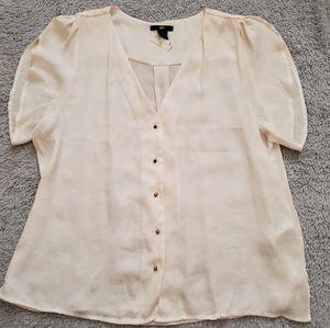 H&M Blouse Button Up Short Sleeve Work Shirt, 14